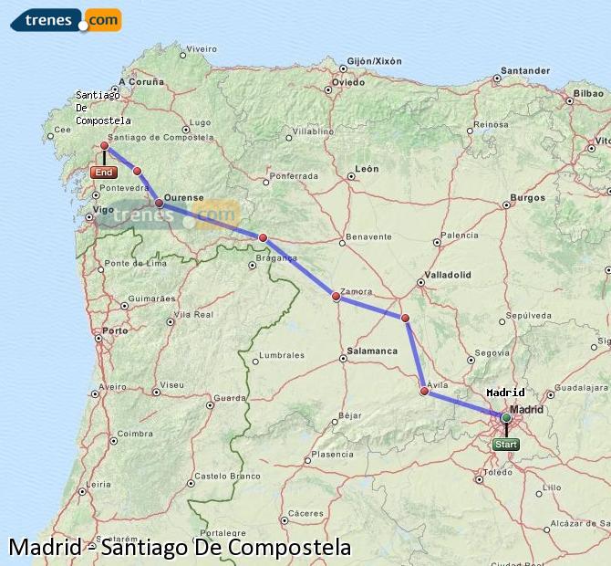 Ampliar mapa Trenes Madrid Santiago De Compostela