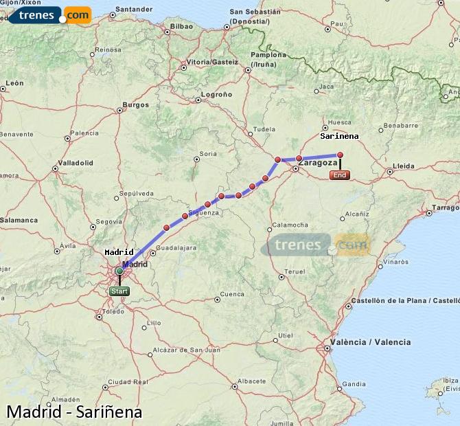 Ampliar mapa Trenes Madrid Sariñena