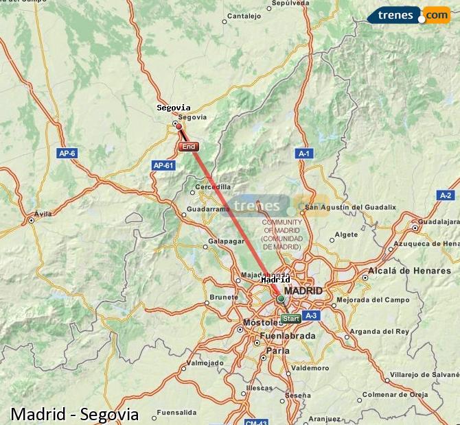 Enlarge map Trains Madrid to Segovia