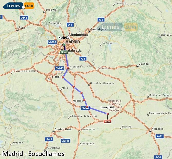 Karte vergrößern Züge Madrid Socuéllamos