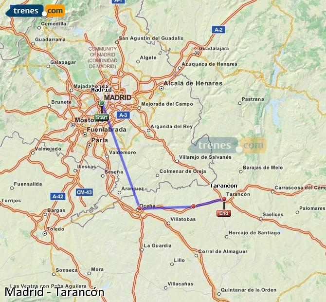 Enlarge map Trains Madrid to Tarancon