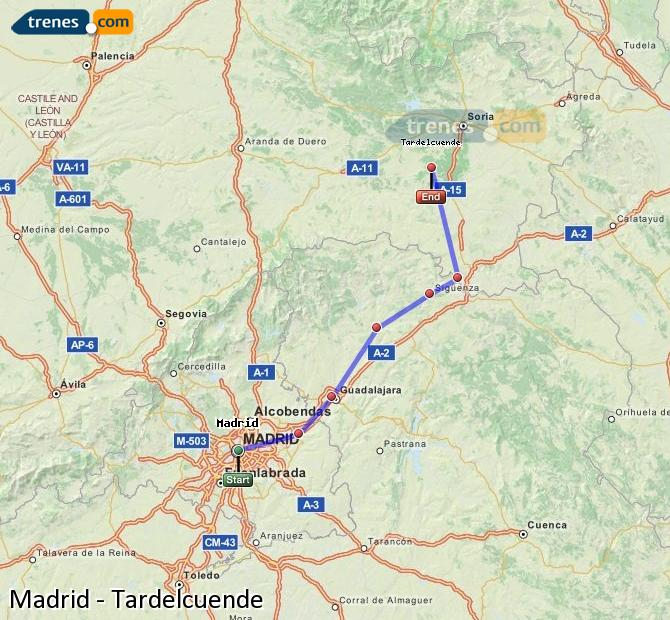 Enlarge map Trains Madrid to Tardelcuende
