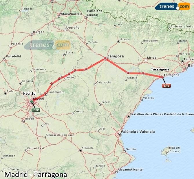Enlarge map Trains Madrid to Tarragona