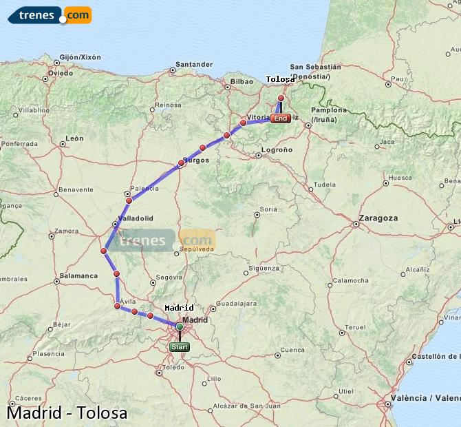Enlarge map Trains Madrid to Tolosa