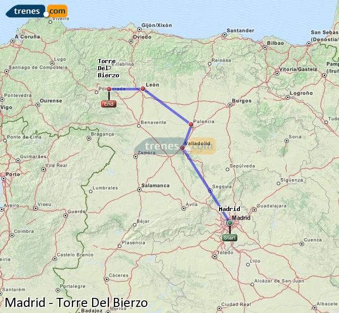 Karte vergrößern Züge Madrid Torre Del Bierzo