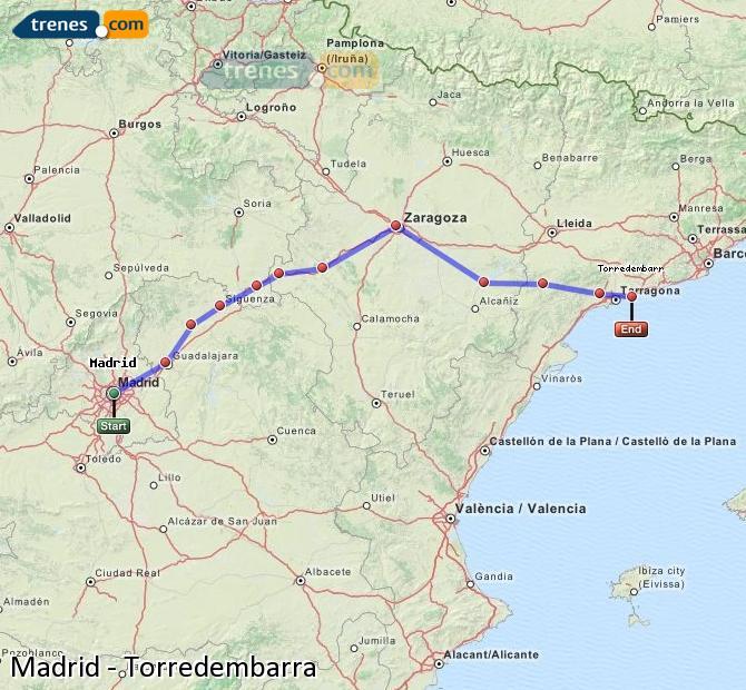 Karte vergrößern Züge Madrid Torredembarra