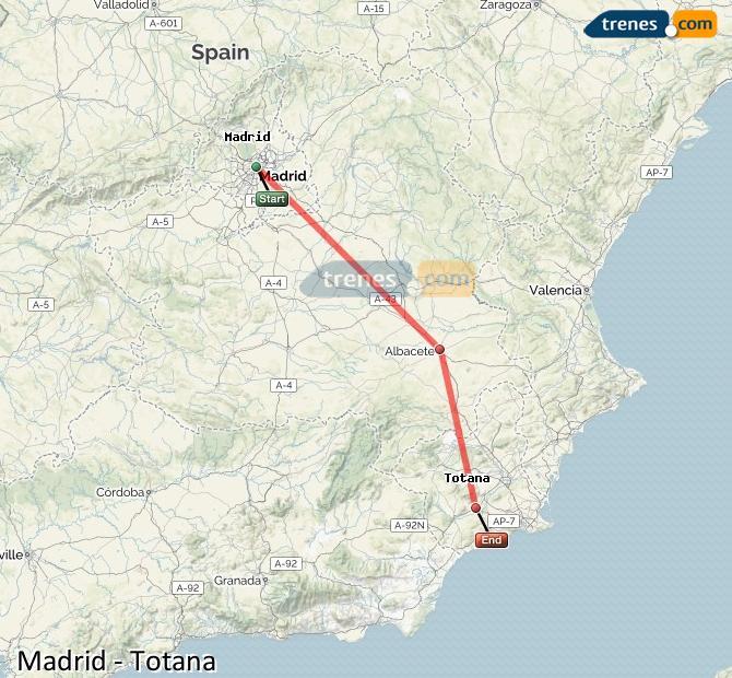 Ampliar mapa Trenes Madrid Totana