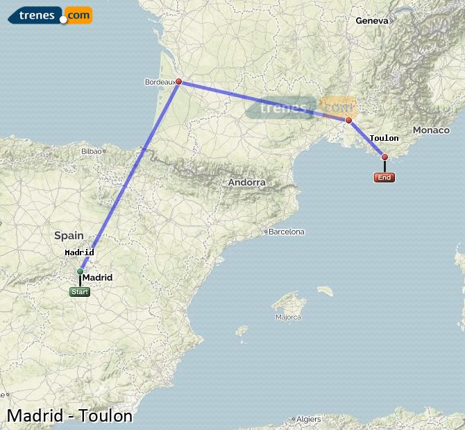 Ampliar mapa Trenes Madrid Toulon