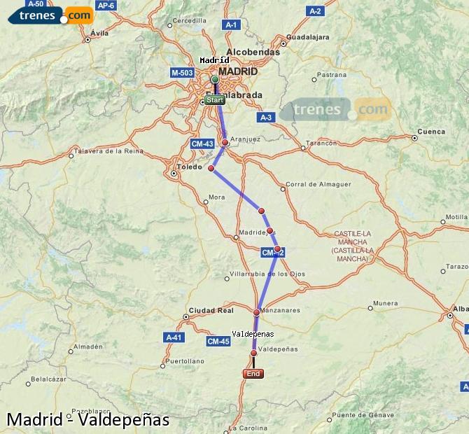 Ampliar mapa Trenes Madrid Valdepeñas