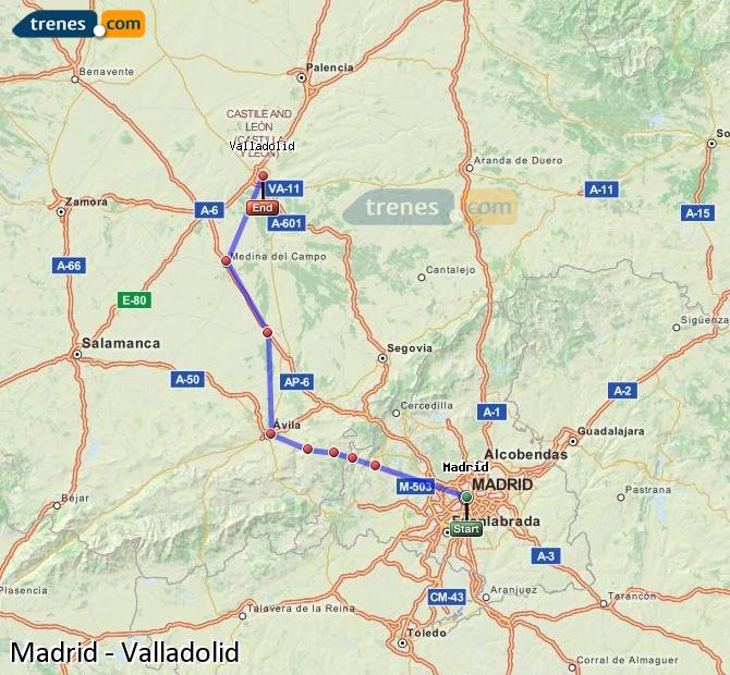 Agrandir la carte Trains Madrid Valladolid