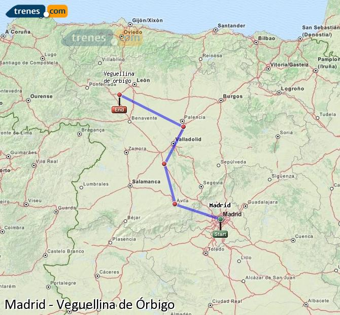 Ampliar mapa Trenes Madrid Veguellina de Órbigo
