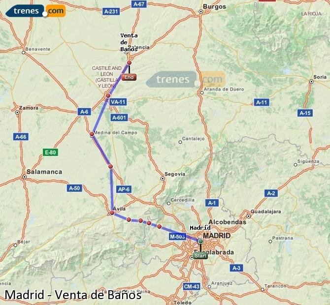 Ingrandisci la mappa Treni Madrid Venta de Baños