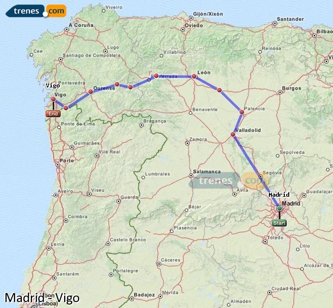 Ingrandisci la mappa Treni Madrid Vigo