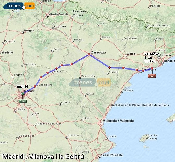 Enlarge map Trains Madrid to Vilanova i la Geltrú