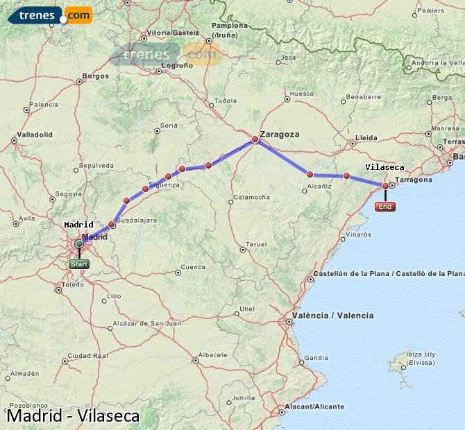 Karte vergrößern Züge Madrid Vilaseca