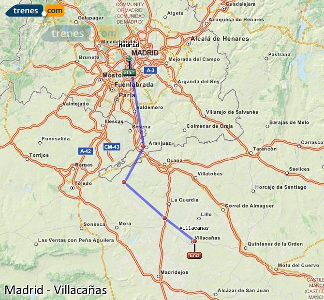 Karte vergrößern Züge Madrid Villacañas
