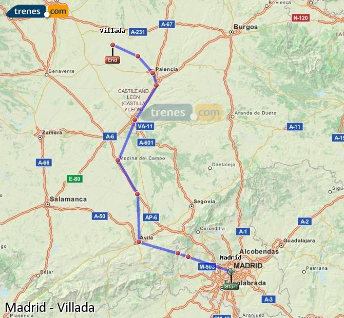 Enlarge map Trains Madrid to Villada