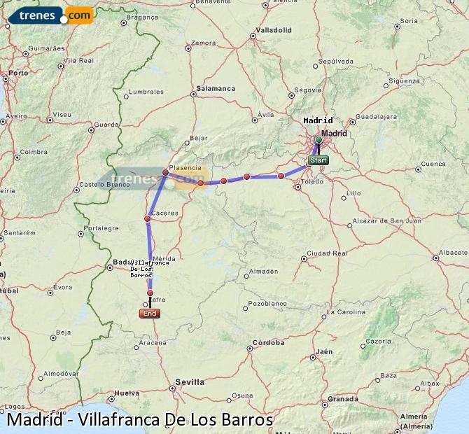 Agrandir la carte Trains Madrid Villafranca De Los Barros
