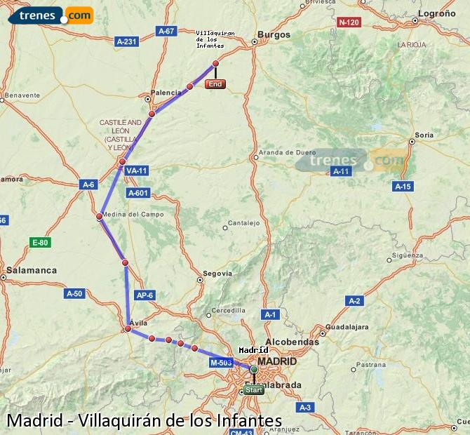 Agrandir la carte Trains Madrid Villaquirán de los Infantes