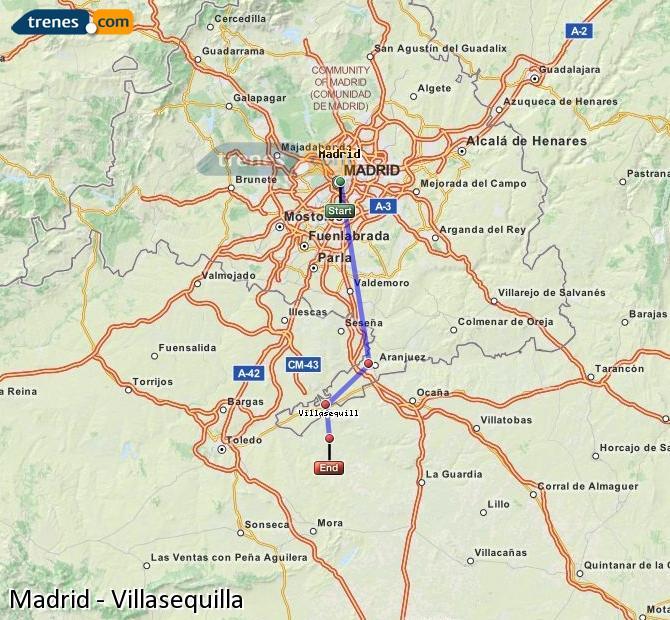 Karte vergrößern Züge Madrid Villasequilla