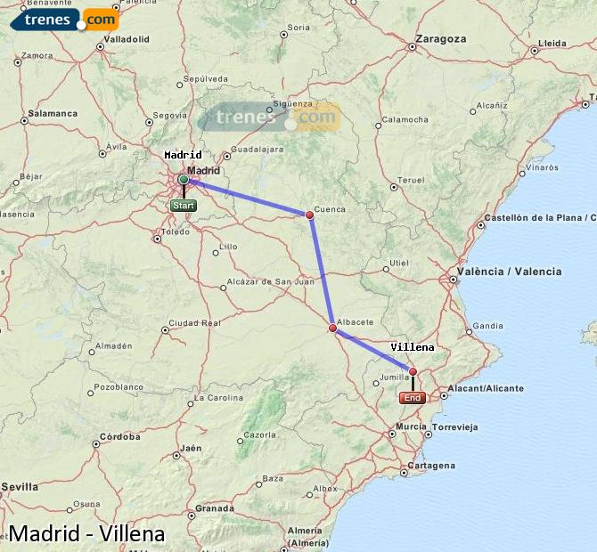 Enlarge map Trains Madrid to Villena