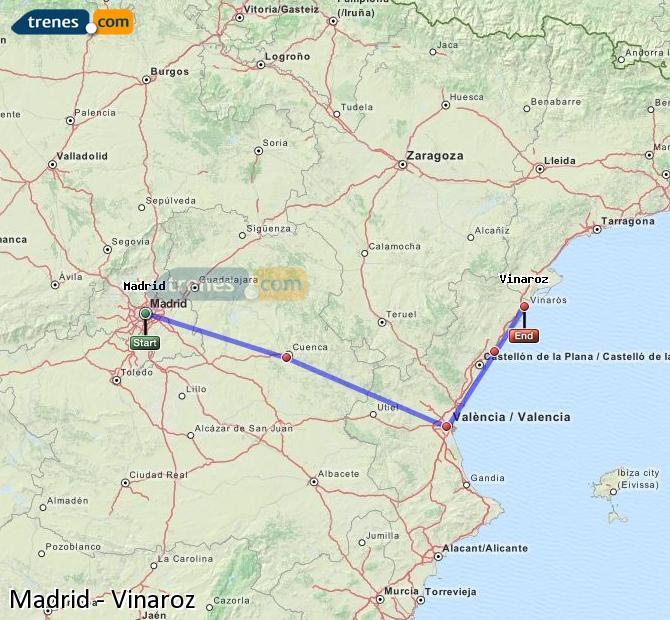 Ampliar mapa Trenes Madrid Vinaroz