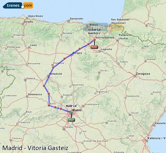 Agrandir la carte Trains Madrid Vitoria Gasteiz