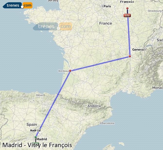 Ampliar mapa Trenes Madrid Vitry le François