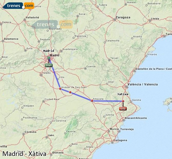 Enlarge map Trains Madrid to Xativa