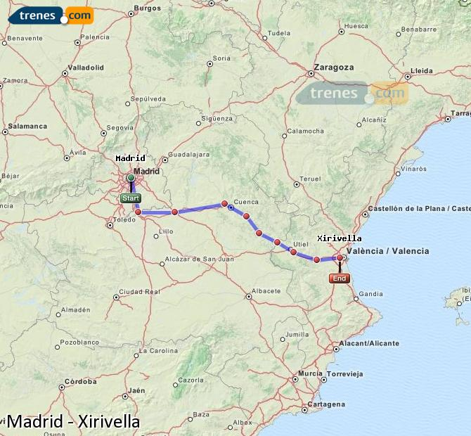 Enlarge map Trains Madrid to Xirivella