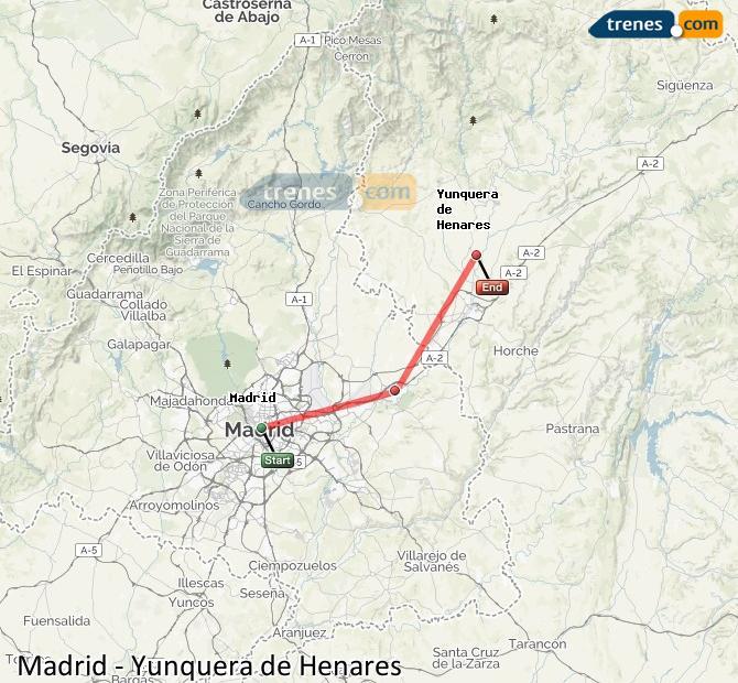 Ingrandisci la mappa Treni Madrid Yunquera de Henares