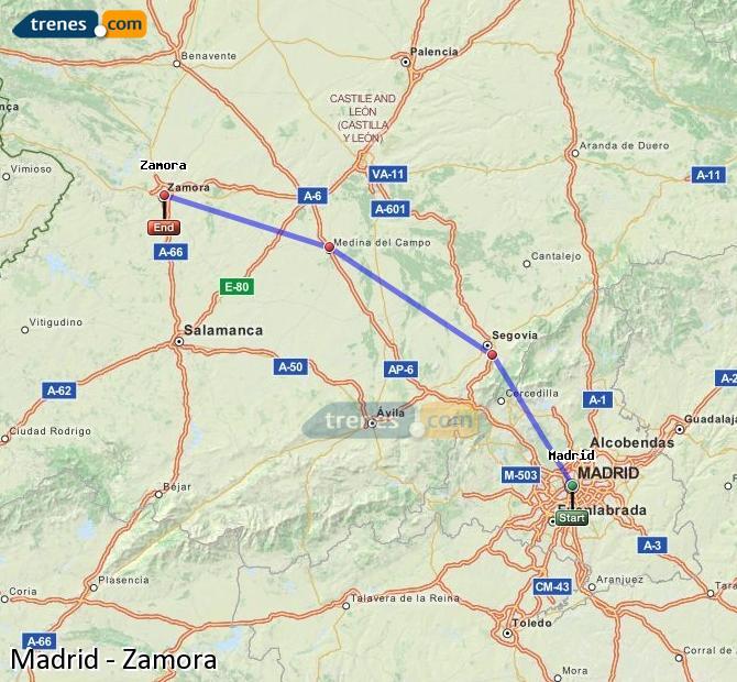 Ampliar mapa Comboios Madrid Zamora