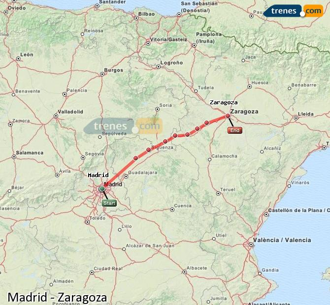 Enlarge map Trains Madrid to Zaragoza