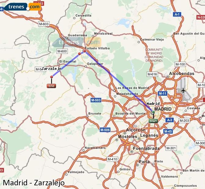 Enlarge map Trains Madrid to Zarzalejo