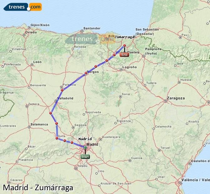 Ampliar mapa Trenes Madrid Zumárraga