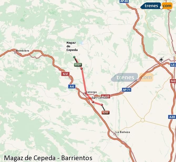 Ampliar mapa Trenes Magaz de Cepeda Barrientos
