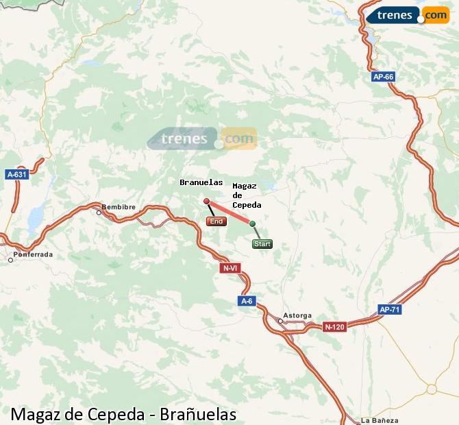 Enlarge map Trains Magaz de Cepeda to Brañuelas