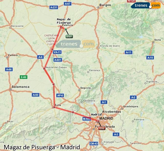 Karte vergrößern Züge Magaz de Pisuerga Madrid