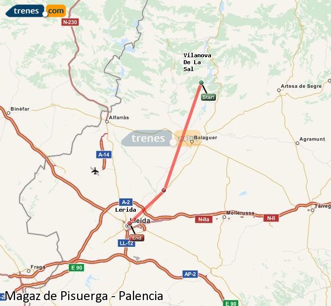 Karte vergrößern Züge Magaz de Pisuerga Palencia