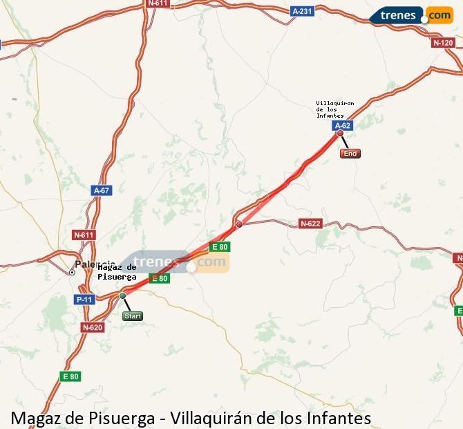 Agrandir la carte Trains Magaz de Pisuerga Villaquirán de los Infantes