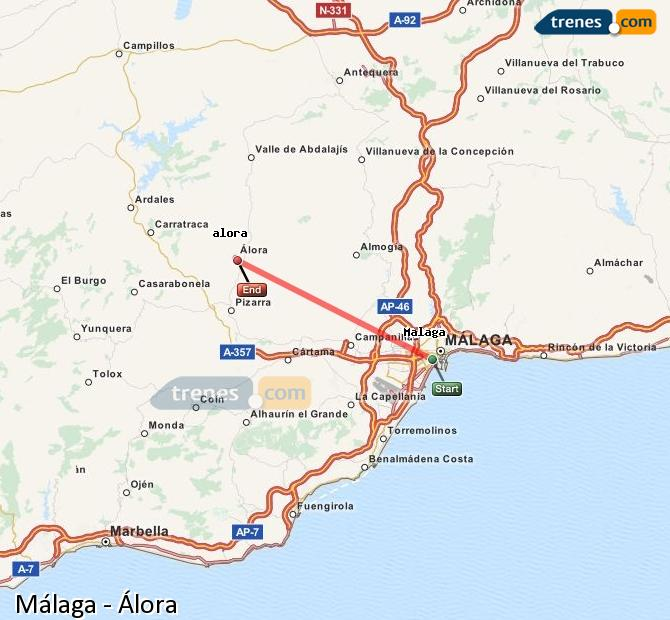 Enlarge map Trains Malaga to Álora