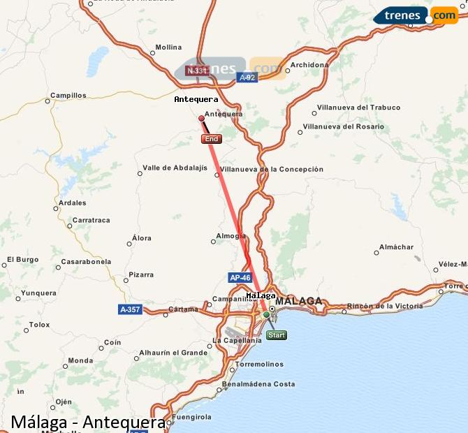 Enlarge map Trains Malaga to Antequera