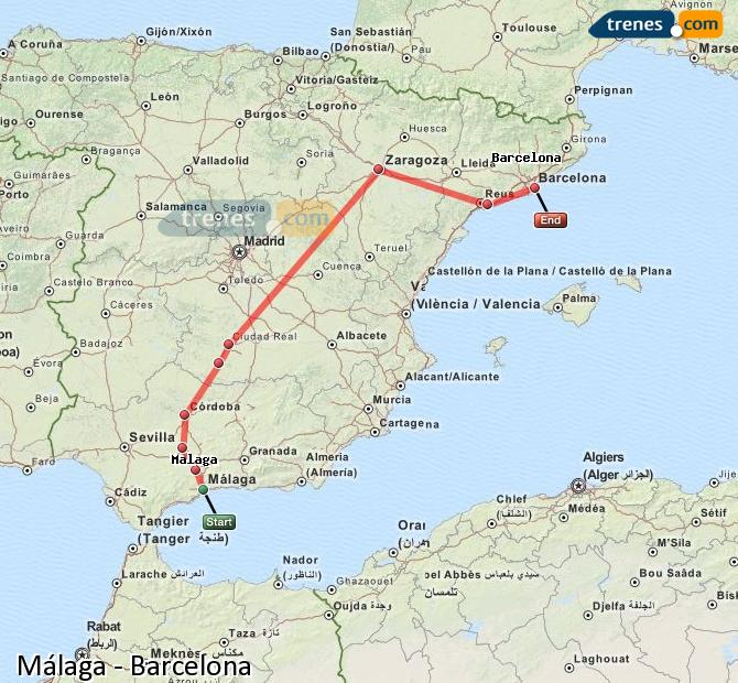 Enlarge map Trains Malaga to Barcelona