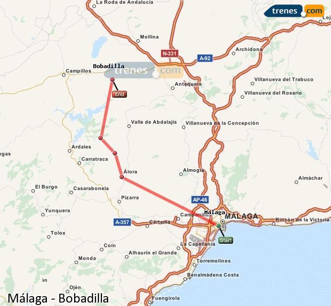 Agrandir la carte Trains Málaga Bobadilla