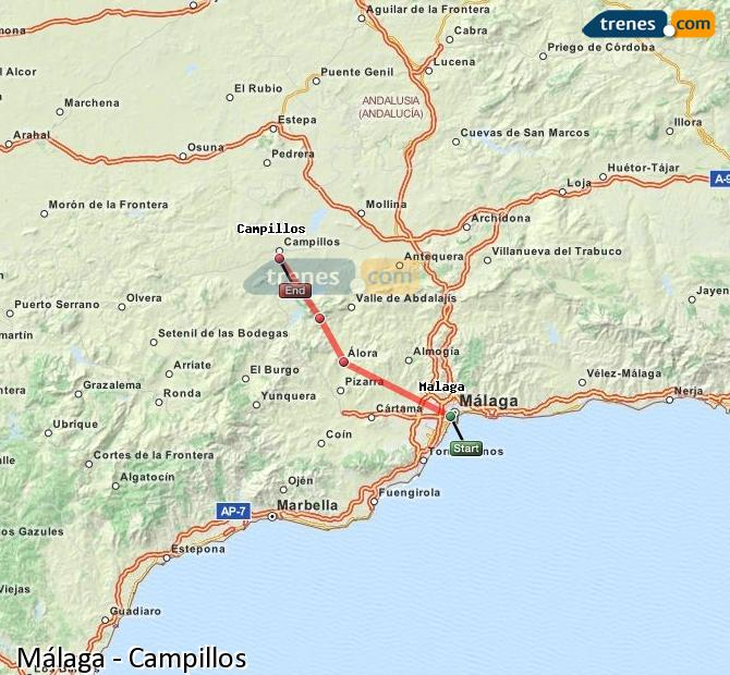 Enlarge map Trains Malaga to Campillos