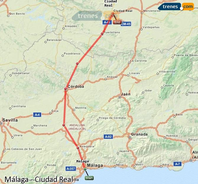 Enlarge map Trains Malaga to Ciudad Real