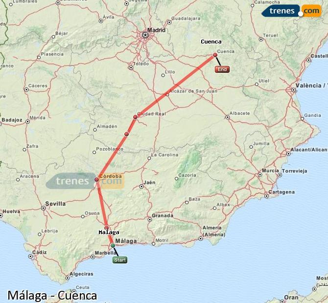 Ampliar mapa Trenes Málaga Cuenca