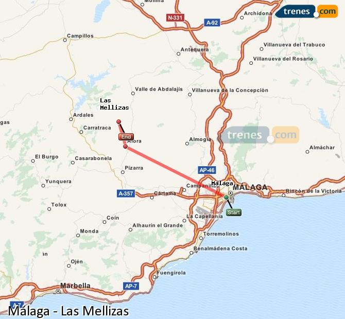 Enlarge map Trains Malaga to Las Mellizas