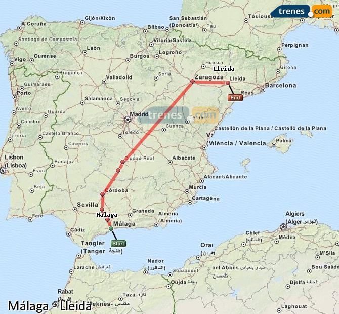 Ampliar mapa Comboios Málaga Lleida