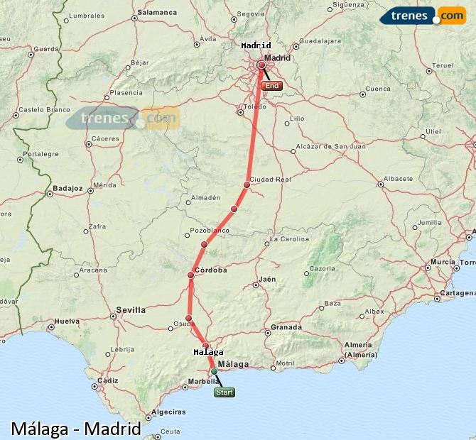 Enlarge map Trains Malaga to Madrid